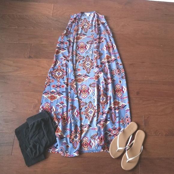 LuLaRoe Blue Aztec Joy Vest